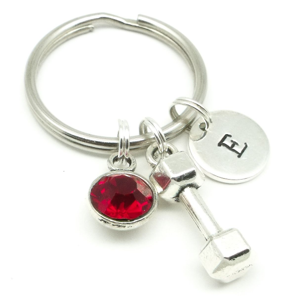 Dumbbell gym gift keyring personalised birthstone